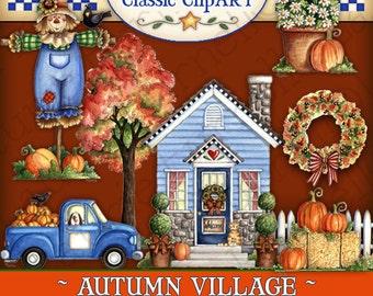 Autumn Village Digital Art, autumn clipart, fall clipart, Laurie Furnell, scrapbooking, papercrafts, autumn village, scarecrow clip art