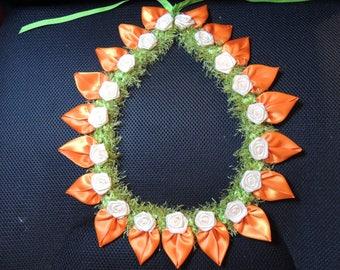 Petal Lei Orange with ivory roses