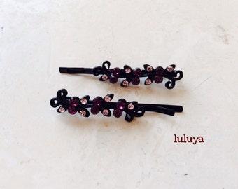 Set of (2)  Purple Emerald Crystal Rhinestone Hair Bobby Pins Flowers Wedding Bridal Headpiece