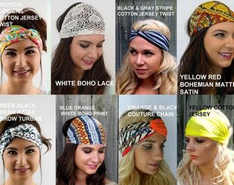 Wide Yoga Headband Choose ANY THREE Workout HeadBand Turband School Work Bands Running Headband Womens Hair Wrap Turban  40 Color Options