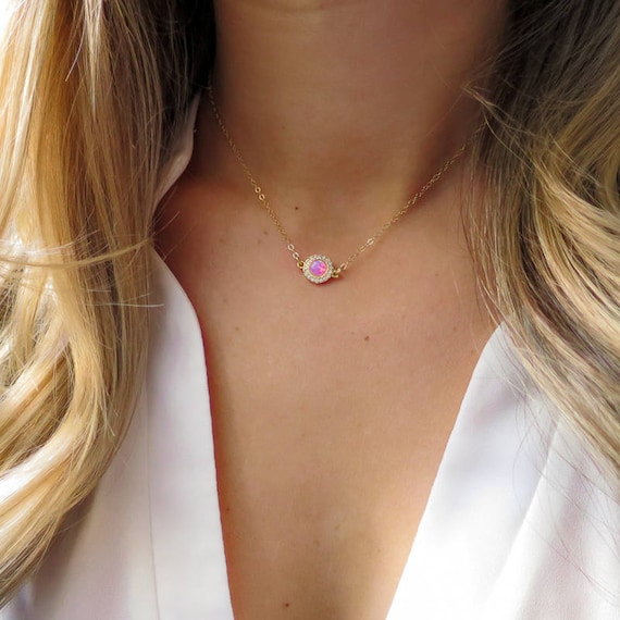 Gold Diamond Pink Opal Necklace