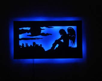 LED Guardian Angel Metal Wall Sculpture with RF Remote Control and Power Supply