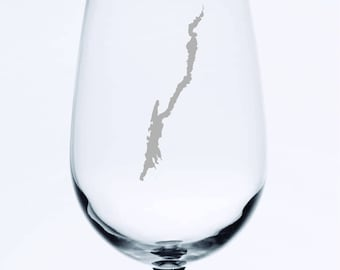 Lake George - Etched 18.5 oz Stemmed Wine Glass
