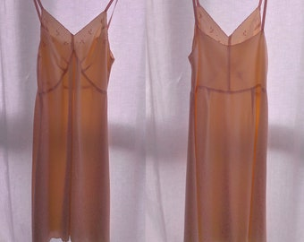 Vintage 1930's, Slip dress , silky satin, embroideries, peach color, small.