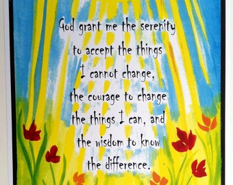 God Grant Me SERENITY PRAYER 11x14 Poster Inspirational Quote 12 Step AA Recovery Motivational Sobriety Heartful Art by Raphaella Vaisseau