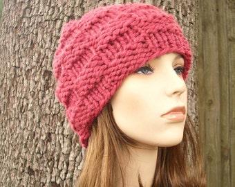 Pink Womens Hat - Basket Weave Beanie in Raspberry Pink Knit Hat - Pink Hat Pink Beanie Womens Accessories Winter Hat