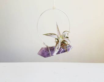 February Birthstone, Hanging Air Plant Hanger Crystal, Boho Decor, Dream Amethyst, Chevron, gift Friend, Ultra Violet Wall Decor