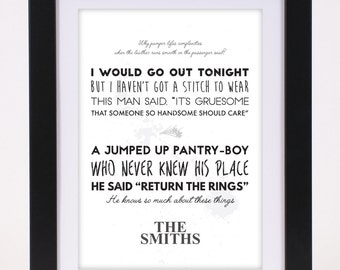 The Smiths 'This Charming Man' Printed Lyrics Poster - available in A4 and A3 // Gift Ideas // Rock // Typography