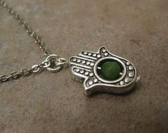 hamsa necklace, hamsa hand necklace, peridot necklace, hand of Fatima , hamsa hand jewelry, august birthstone, peridot jewelry