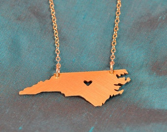 Petite GOLD-Filled North Carolina Necklace with Heart