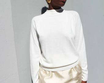 Lightweight Creme Mock Neck Sweater