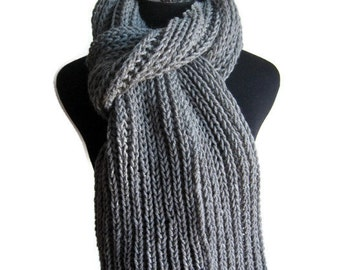 Knit Mens Scarf, Grey Scarf, Winter Accessories, Winter Scarf, Grey Knit Scarf, Knit Long Scarf, Vegan Knits