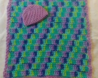 "Crocheted 2 Piece Preemie Infant Girl Beanie Hat and Blanket Purple Green Blue 16"" x 17"""