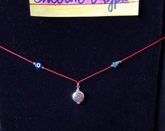 Evil eye necklace with lotus flower