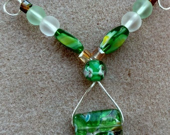 Mint And Ice Dichroic Necklace
