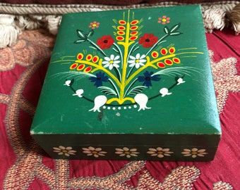 French Country Provence Hand painted floral trinket box