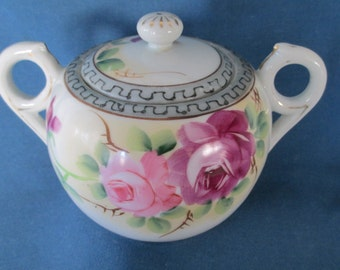 Vintage Takito Hand Painted China Pink Rose Sugar Bowl With Handles Marked Dinnerware Japanese China Serving