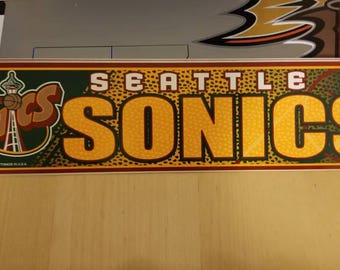 90s Seattle supersonics bumper sticker decal, Gary Payton