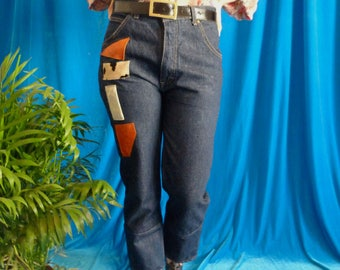 upcycled vintage jeans cropped and straight with patches of skin and high waist