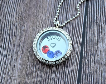 Personalized floating charm locket | Memory locket necklace | Mom locket necklace | Birthstone locket necklace | Living memory locket |