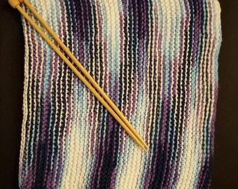 Cotton Washcloth/Dishcloth in Purple Blue White Design