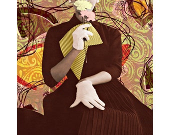 Retro funky goddess, digital print, photomontage, fine art print, digital art, retro high fashion, Vogue vintage, 1950 fashion, wall art