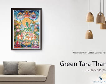 Beautiful Green Tara Thangka - Made in Nepal
