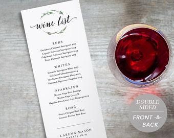 Wine list template | Etsy