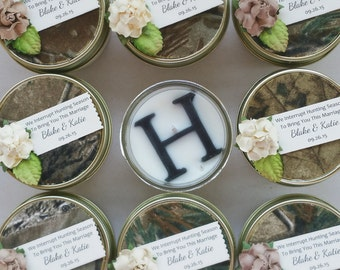 The Hunt Is Over Wedding | 40 4oz Soy Candles | Realtree Fabric | Camo Wedding | Country Wedding | Nature Wedding | burn to celebrate