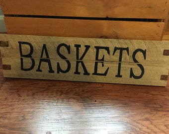 Wooden Basket Sign
