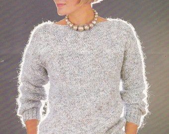 PDF pretty slash neck sweater vintage knitting pattern 32 - 38 inches pdf INSTANT download pattern only