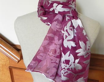 Long hand dyed Devore satin silk scarf in shades of mauve, ready to ship