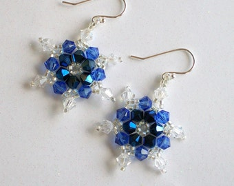 Deep Blue Swarovski Crystal Snowflake Earrings, hand stitched