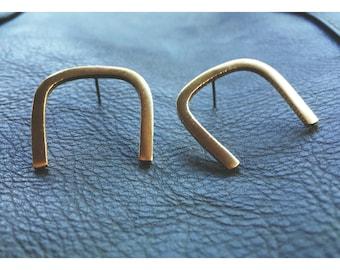 Connect Studs — raw brass horseshoe earring boho minimalist nashville gold summer simple