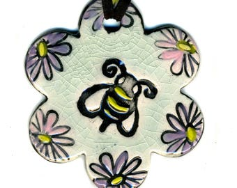 Flowery Bumble Bee Ceramic Necklace