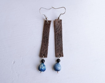 Dark Brown Leather Drop Earrings with Blue Job's Tears Seeds
