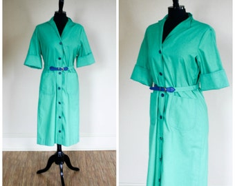 Vintage 1970s Serbin Shirt Dress Kelly Green Cotton Belted Size 8