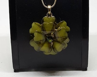 3D flower necklace,olive green flower,3D acrylic flower gold tone chain 16 inch long. Gift for her birthday gift Christmas gift