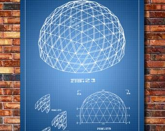 Geodesic Dome Patent Print Art 1965