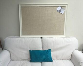 Giant hessian pin board Hessian bulletin board Hessian memo board Hessian message board White pin board White cork board Fabric notice board