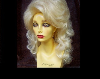 Drag Cabaret Wig (W886-3) Long Layered Bouffant, 1970s Dolly Parton Hairstyle, French Vanilla Blonde, Play or Musical Character, Cosplay