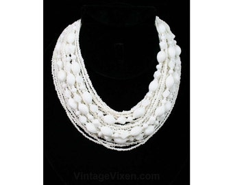 Pure White 60s Bib Necklace - Beaded Multi Strand Torsade - Resort Style 1960s Summer Beach Jewelry - Mint Condition - Deadstock - 42356