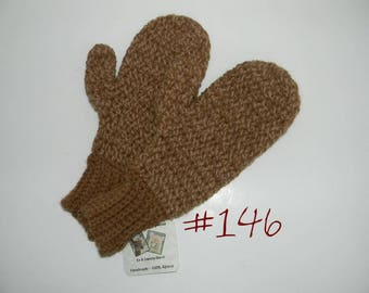 SALE - 100% Alpaca Mittens - So Warm, Soft and Luxurious - Tweed Tan and Brown - Alpacas Raised on our Farm