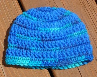 Striped Baby Hat, Newborn Boy Hat, Infant Boy Crochet, Childs Hat, Blue Crochet, Handmade Hat, Boy Cap, Blue Baby Hat, Bue Kids Hat