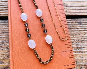 Art Deco Glass, Vintage Patina Brass Chain, White Long Necklace, Small Collection Gift , The Misty Storm Necklace