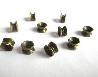 10 pearls separators flower 7 x 5 mm bronze
