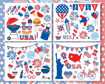 4th of July, Independence Day Clipart Bundle, Digital Papers, Picnic, Fireworks, BBQ, America, USA, Commercial Use, Vector clip art, SVG