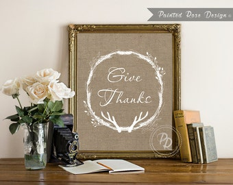 Art Print - Give Thanks Thanksgiving Fall Autumn Burlap Digital Printable Home Décor Wall Frame Art 8 x 10 - ILF
