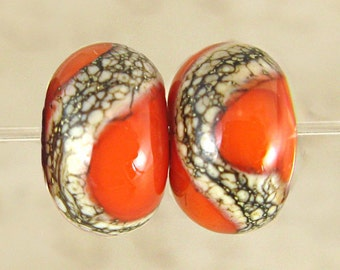 Orange Glass Lampwork Bead Pair Handmade Small 11x7mm Phoenix