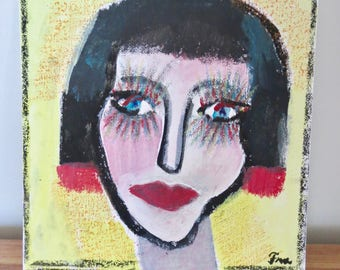 Small painting 'Face', woman's portrait, primitive art, naive, acrylic and pastel on canvas cardboard, wall art, modern art, original